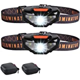 2 LED Headlamps Flashlights with Portable Cases,COSOOS Bright Running Headlamp,Waterproof Head Lamps,Small Headlights…