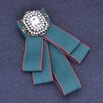 Wansan Rhinestone Pearl Bowknot Brooch Pre Tied Ribbon Bow Tie Brooch Wedding Party Accessories 12.5cm8.2cm