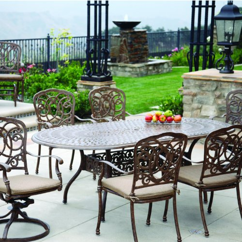 Darlee Florence 7 Piece Cast Aluminum Patio Dining Set with Oval Table - Antique Bronze