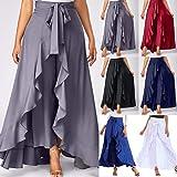 LUXISDE Culottes for Women Ruffle Pants Plain Split Tie-Waist Maxi Zipper Tie Front Palazzo Overlay Pants Long Beach Skirt