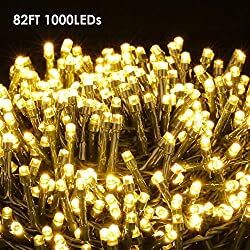 ilikable LED String Lights 82FT 1000 LEDs Fairy String Lights Waterproof Plug in for Indoor Outdoor Party Wedding Porch Backyard Garden Xmas Home Decor, Warm White