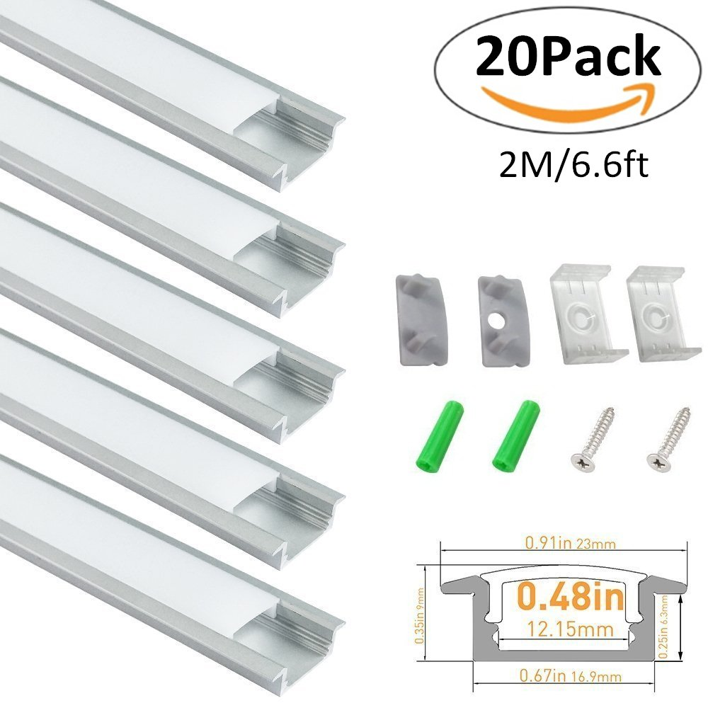 LightingWill 6.6ft/2M 20 Pack(131ft/40M) 9x23mm Silver U Shape LED Aluminum Channel for <12mm Width LED Strip Light with White Diffuser Cover, End Caps and Mounting Clips Aluminum Extrusion -U01S2M20