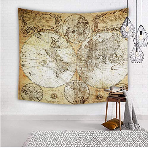 Flymall World Map Tapestry, Tapestry Wall Hanging for Wall Art Home Decor Bedspread Beach Towels Blanket Picnic Mat(59