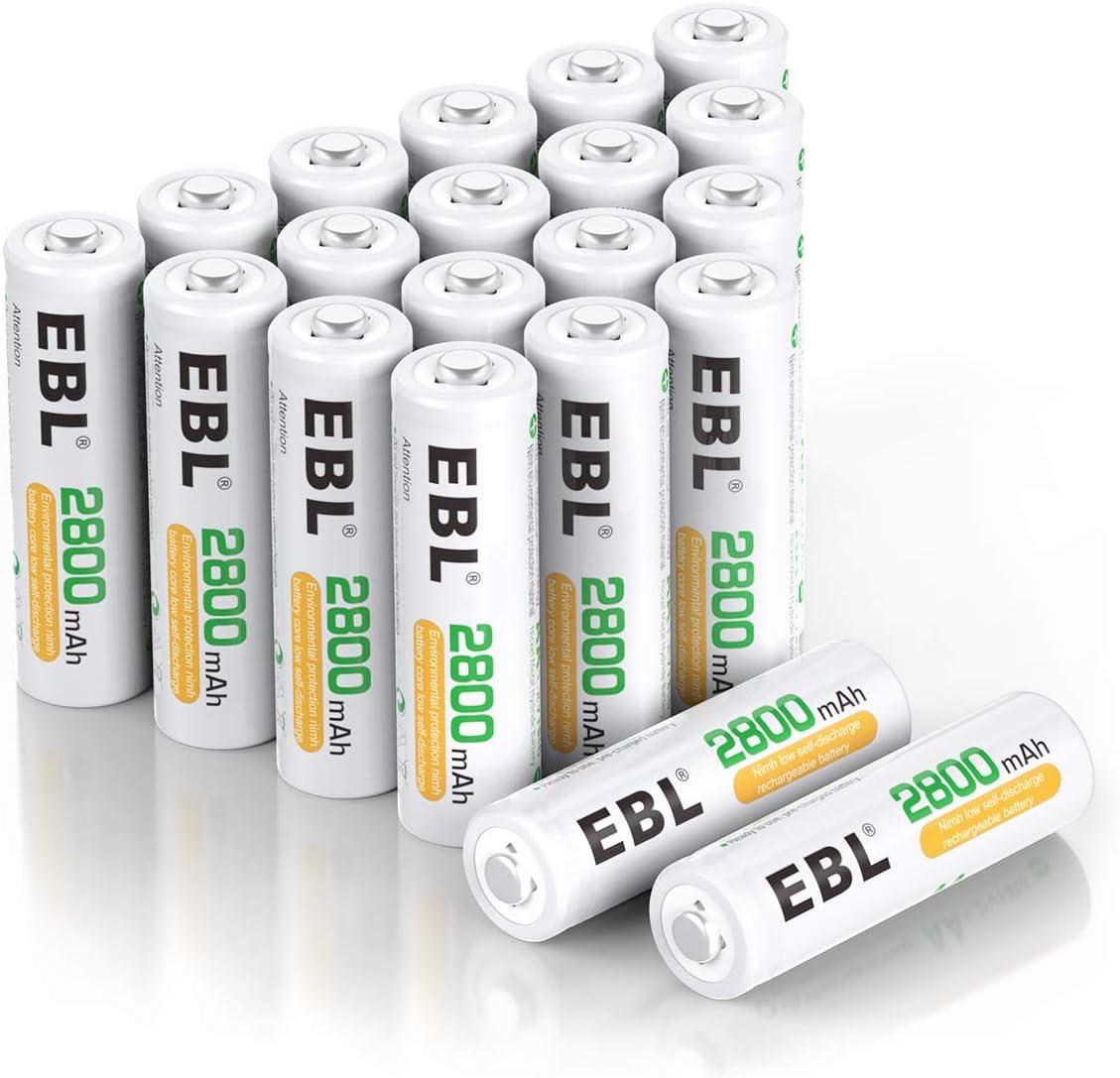 EBL AA Akku 2800mAh hohe Kapazit/ät 1200 Ladezyklen AA Mignon NI-MH wiederaufladbare Batterien 20 St/ück