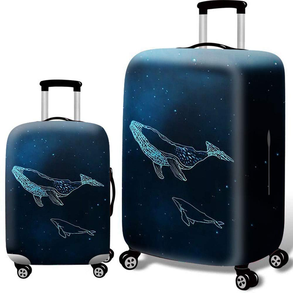 DHUYUN-Bag Luggage Cover Protector Washable 3D Print Luggage Cover Elastic Dustproof Suitcase Protector Fit for 18-32 Inch Luggage Washable Baggage Covers 18-21 Color : Whale, Size : S
