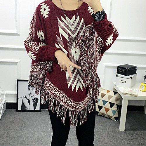 FFJ064 Poncho LOCOMO Jacquard Femme Tops Red Luxury vAqqE8I
