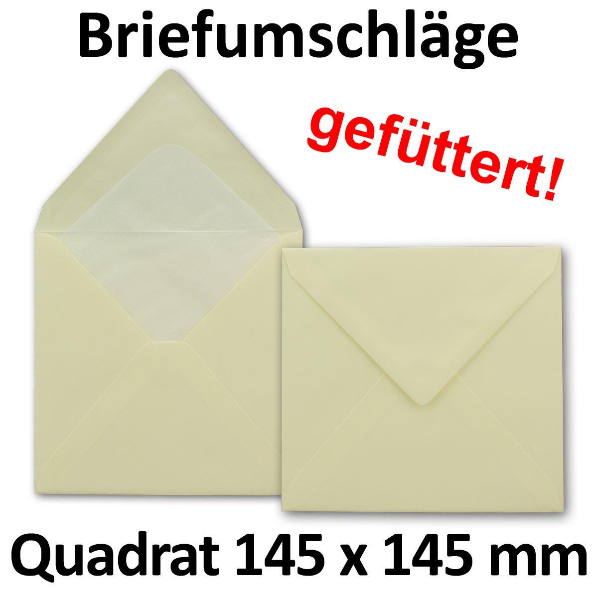 145 x 145 mm Enveloppes carr/ées Avec doublure en soie de 100 g//m/² Fermeture humide 100 St/ück blanc /éclatant