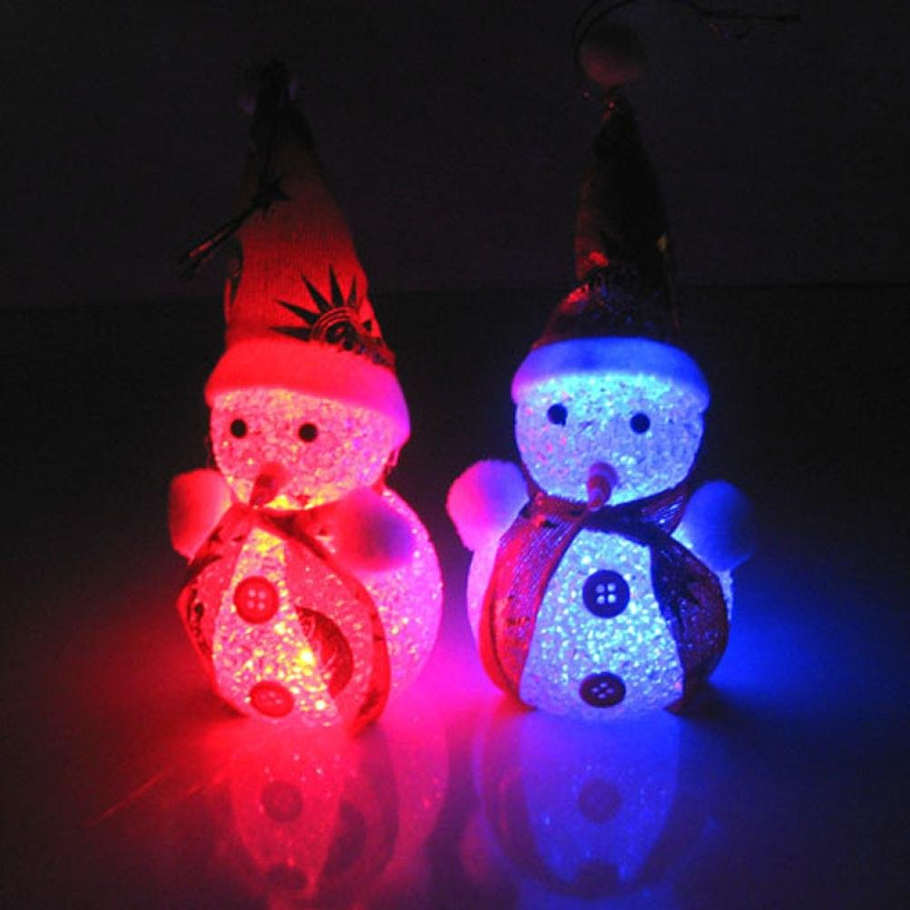 1PC Light Up Glowing Snowy Snowman Warm White LEDs Christmas Xmas Decoration Figure
