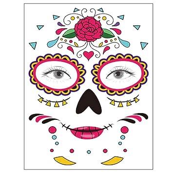 Tatuaje temporal de la cara, 8 Kits Tatuajes Sugar Skull Stickers ...