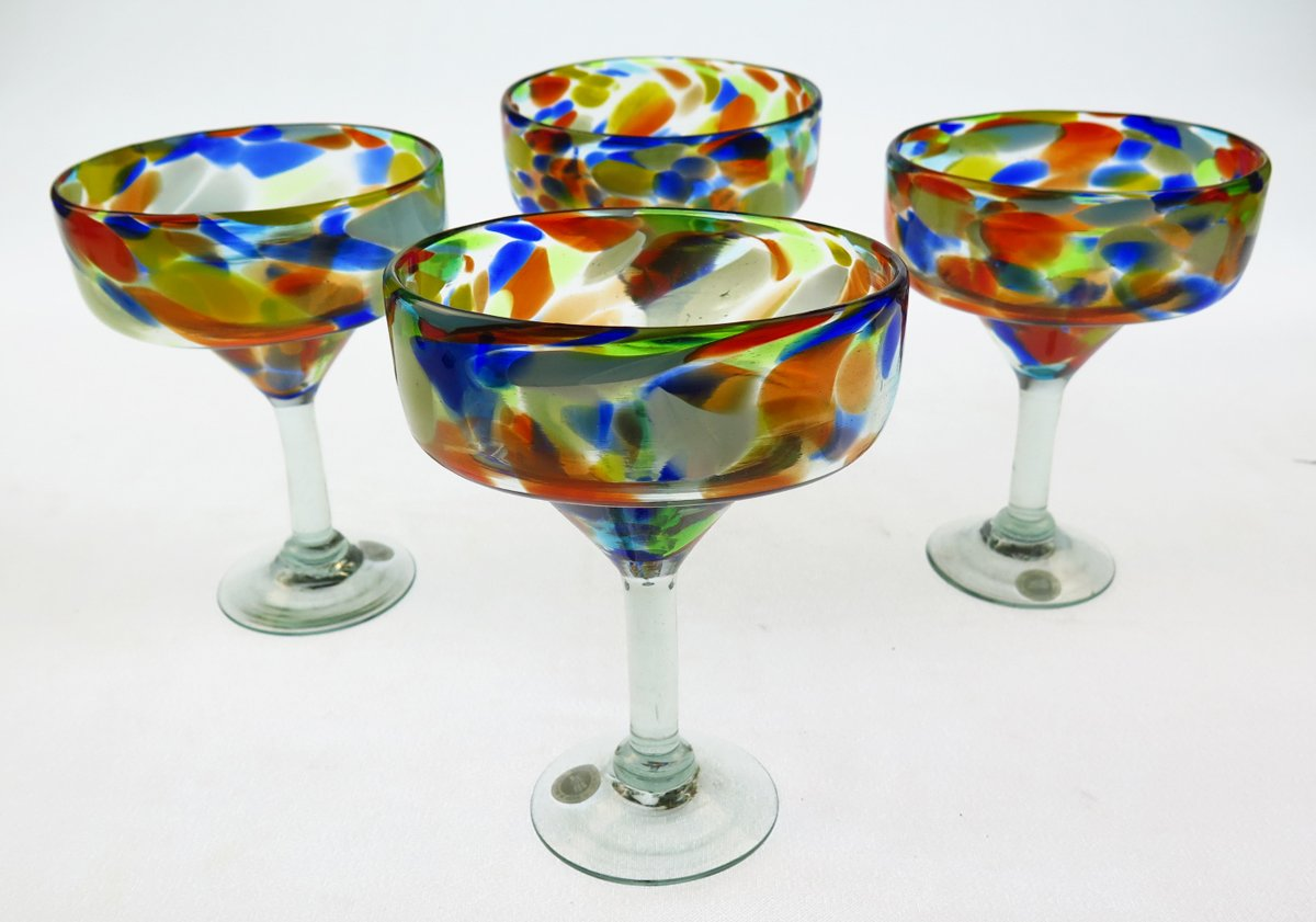 Mexican Margarita Glasses & Pitcher, Confetti Swirl (Set of 4) by Mexican Glass (Image #5)