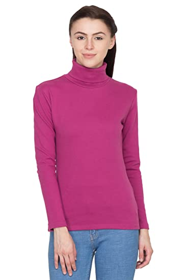Hypernation Wine High Neck T-Shirts for Women T-Shirts at amazon