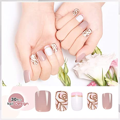 Doreliss uñas postizas 30 Pcs Francia Consejos corto uñas falsas de Pegamento adhesivo de doble cara Rosa