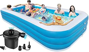 Inflatable Swimming Pools Above Ground - 10Ft Swimming Pools For Kids And Adults Outdoor,Backyard,Garden - Easy Set Family Pool With Electric Air Pump