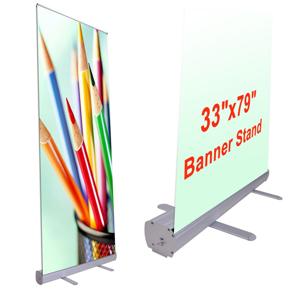 COMLZD® Aluminum 33''x79'' Retractable Roll Up Banner Stand Pop Up Trade Show Display