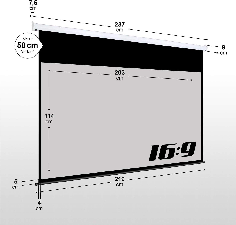 Heimkino elektrische Beamer Projektionsleinwand Motor Leinwand LCD 92 Programmierbare Fernbedienung ESMART Professional MIMOTO Tageslicht Motor-Leinwand GRAU 203 x 114 cm 16:9 Vollmaskierung
