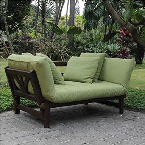 Outdoor Futon Convertible Sofa Daybed Deep Seating Adjustable Patio Furniture (Green) (Sofa Deep Seating)