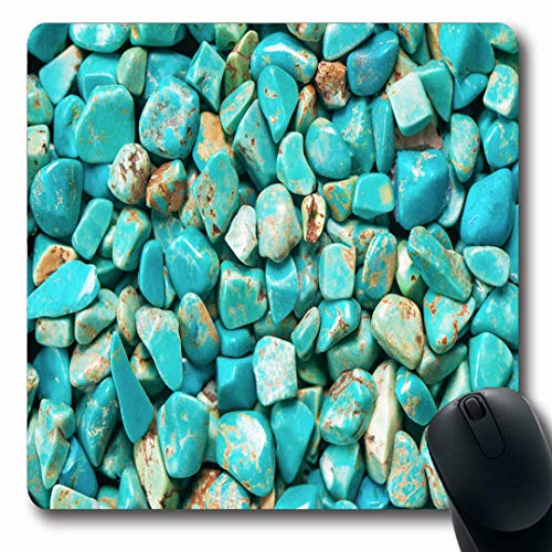 (Ahawoso Mousepads Nature Green Stone Turquoise Mineral Raw Blue Rare Jewelry Cyan Natural Rock Adornment Design Pale Oblong Shape 7.9 x 9.5 Inches Non-Slip Gaming Mouse Pad Rubber Oblong Mat)