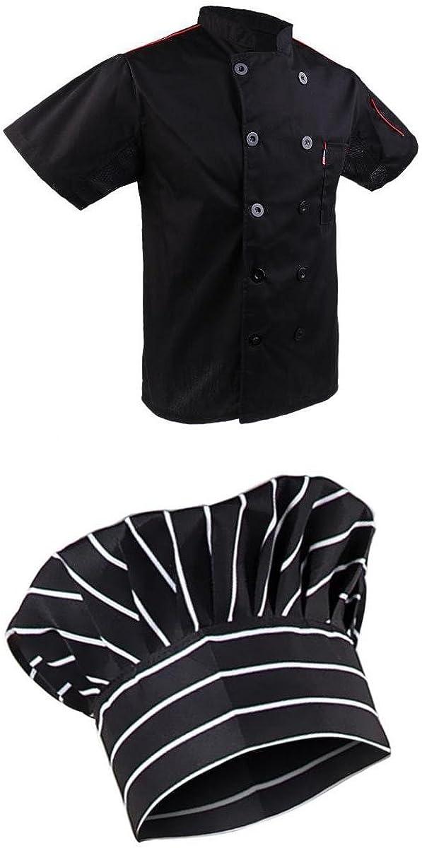 MagiDeal 1x Chaqueta 1x Gorra de Chef Negra Ropa Cocina Hotel Chamarra Cocinero Uniforms Cocinero - Negro, única: Amazon.es: Ropa y accesorios