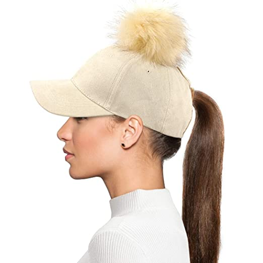 3c33cf96d FADA Women Ponytail Baseball Cap Pompom Messy High Bun Ponytail Hat Women  Ponycaps Adjustable Cotton Trucker Cap