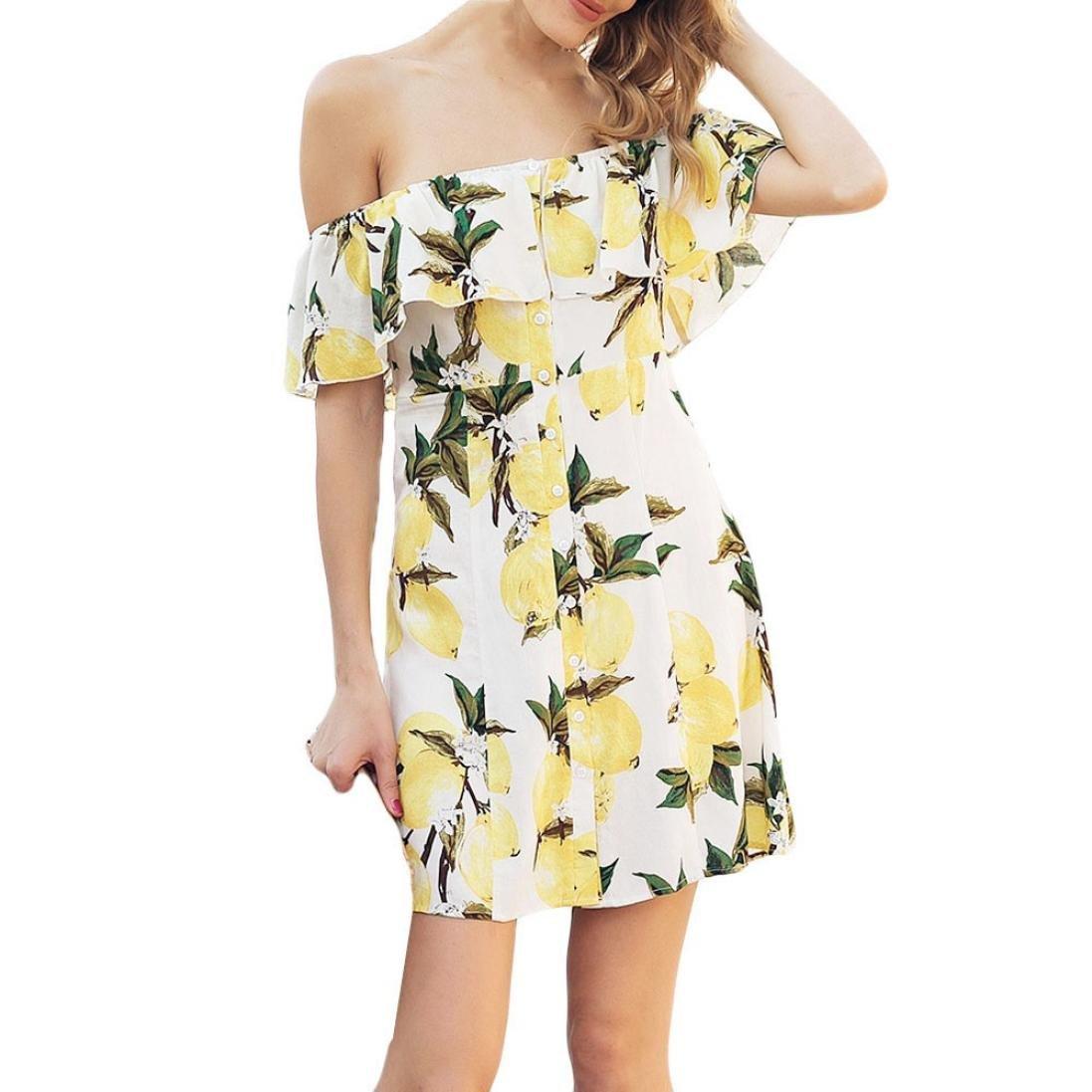 Damen Sommerkleider,Beikoard Frauen Mode lässig Kurzarm Fruit Lemon ...