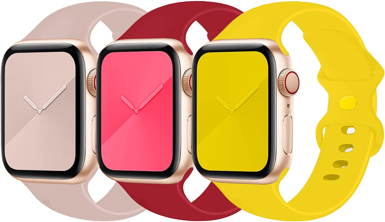 LANGXIAN 3 Pack Sport Bands Compatible with Apple Watch Band 38mm 40mm 42mm 44mm, Soft Silicone Replacement Strap Compatible for Apple iwatch Series 6/5/4/3/2/1/SE
