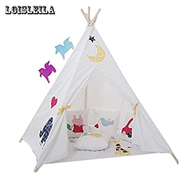 Loisleila Five Poles Indian Play Tent Children Teepees Kids Tipi Tent Cotton Canvas Teepee White Play  sc 1 st  Amazon.ca & Loisleila Five Poles Indian Play Tent Children Teepees Kids Tipi ...