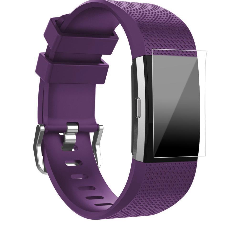 Fitbit Charge 2バンド、topcent交換用スポーツシリコンストラップバンド+ HD Film For Fitbit Charge 2 Smartwatch Fitnessリストバンド – 手首サイズ: 13.5 – 9.05インチ B075WY7JTZ PP