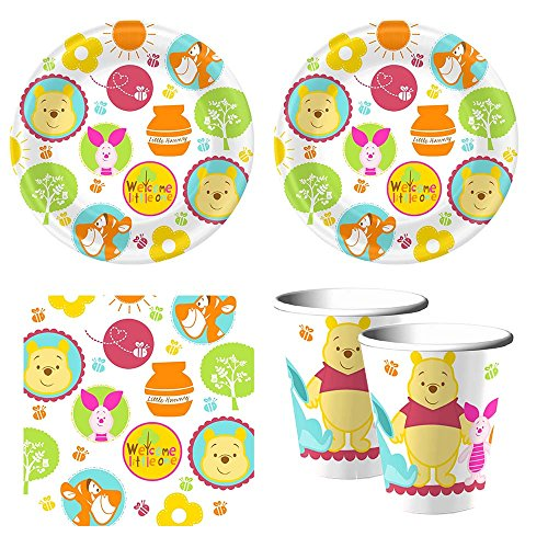Winnie The Pooh Baby Plate (Winnie the Pooh 'Little Hunny' Baby Shower party supplies, 16 guests, plates, napkins, cups)