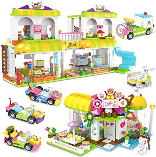 Coffee Store Supermarket Creative Building Toy Set for Kids, Best Learning and Roleplay Gift for Girls and Boys Festival Birthday with Base Plates Lid Storage Box 1061 Pieces