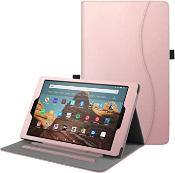 Leather Stand Cover Case Tempered Glass Screen Protector For Amazon Fire HD 10
