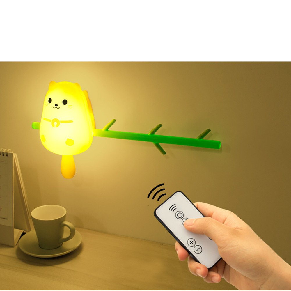 Vacally Cute Animal Hook Wall Lamp Home Decoration USB LED Bedside Night Light Lovely Light For Kids (Multicolor A) by Vacally light bulbs (Image #3)