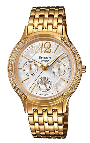 Casio SHE-3030GD-7AUER - Reloj para mujeres, correa de acero inoxidable color dorado: Amazon.es: Relojes