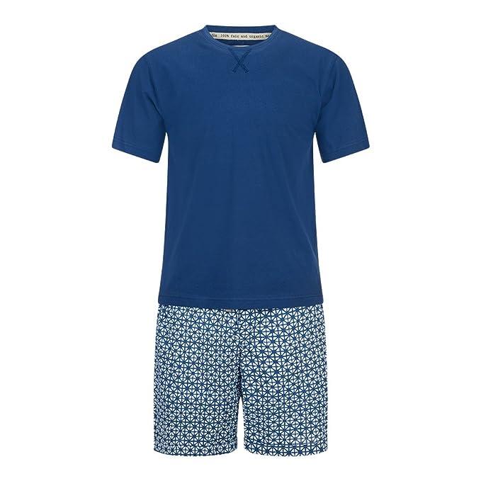 Veraluna Shibori, Conjuntos de Pijama para Hombre, Azul (Atlántico), Large (