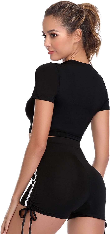 Hawiton Conjunto de Ropa Deportiva para Mujer Top de Running de Manga Corta de 2 Piezas /& Pantalones Cortos de Cintura Alta Yoga Gym Wear