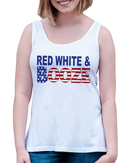 779c8b19b9bc56 7 ate 9 Apparel Women s Red White Booze 4th of July White Tank Top Small