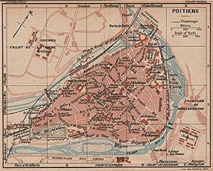 Amazoncom POITIERS Vintage town city map plan Vienne 1926