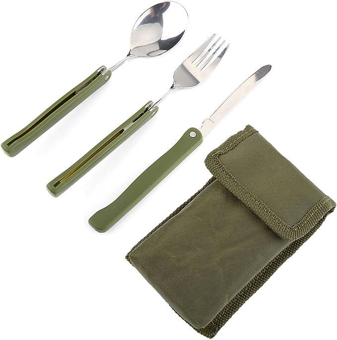 Juego de vajilla de acero inoxidable plegable para exteriores, cuchillo y cuchara, para camping, picnic, viaje