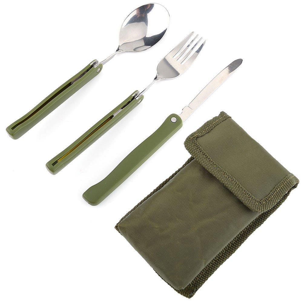 Juego de vajilla Outdoor Tenedor Cuchillo Cuchara de acero inoxidable Utility Cubiertos Para Camping Picnic Viaje VGEBY