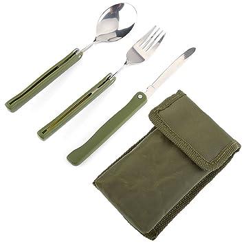 Juego de vajilla Outdoor Tenedor Cuchillo Cuchara de acero inoxidable Utility Cubiertos Para Camping Picnic Viaje