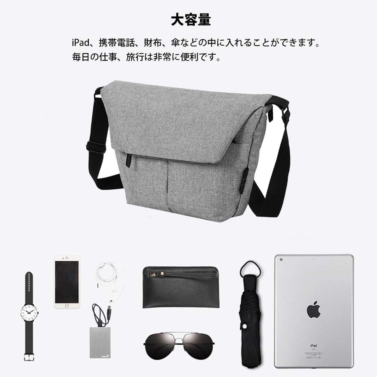 メンズ 防水 口折れバッグ ビジカジ メッセンジャーバッグ(silver grey)