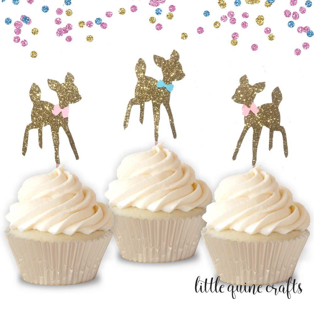 12 pcs baby deer pink blue bow fall winter woodland Gold Glitter Cupcake dessert Topper Birthday girl boy baby shower gender reveal