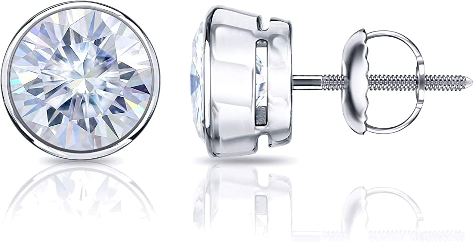 1Ct Cubic Zirconia 14K White Gold Brilliant Round Screw back Stud Earrings 5mm