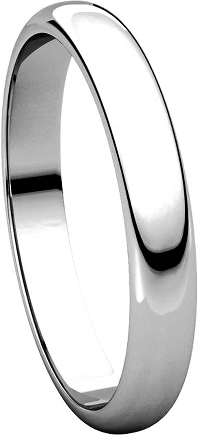 3mm Wide Mens and Womens 14k White Gold Plain Wedding Band High Dome