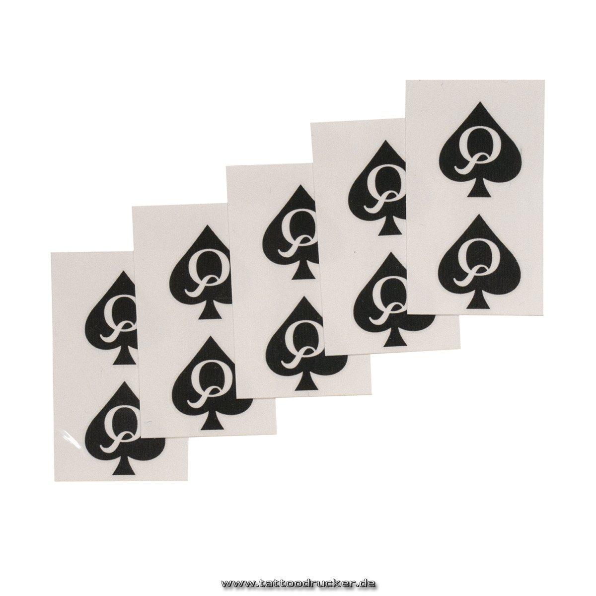 10 Queen of Spades mini Tattoo - QoS black tattoo - naughty temporary tattoo TMP Mini-QoS-10