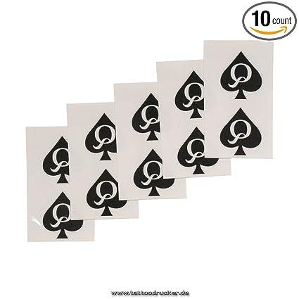 f49b9f04f Amazon.com: 10 Queen of Spades Mini Tattoo - QoS Black Tattoo - Naughty Temporary  Tattoo: Sports & Outdoors
