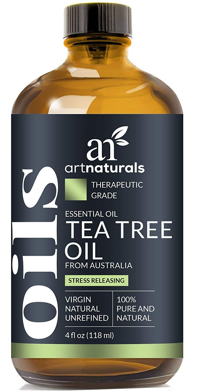 "ArtNaturals 100% Pure Tea Tree Essential Oil - (4 Fl Oz / 120ml) - Natural Premium Melaleuca Therapeutic Grade - Great with Soap and Shampoo, Face and Body Wash - Treatment for Acne, Lice"""