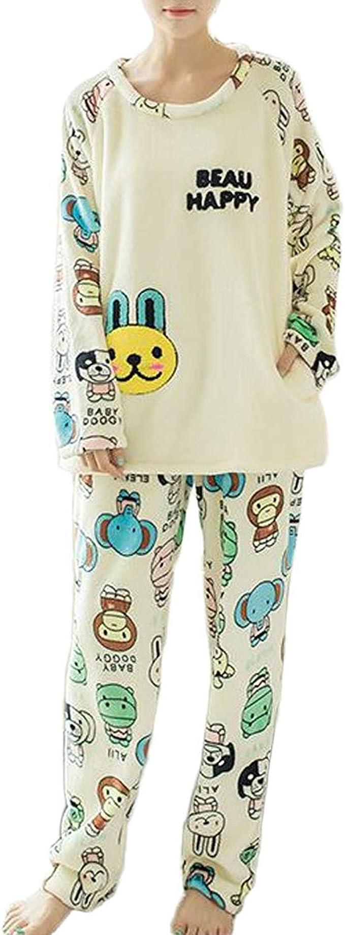 Conjunto De Pijamas De Manga Larga De Franela De Invierno ...