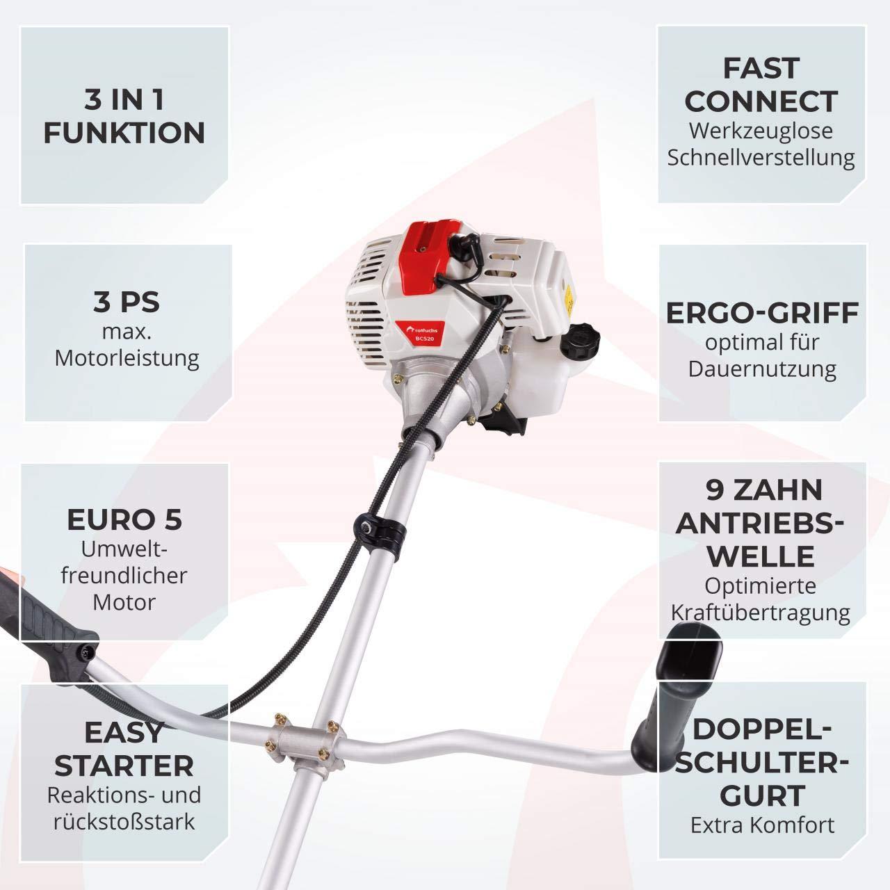 ROTFUCHS/® 3in1 Benzin Motorsense 3,0PS mit 52ccm Rasentrimmer Freischneider mit Profi Schultergurt Weiss-Rot
