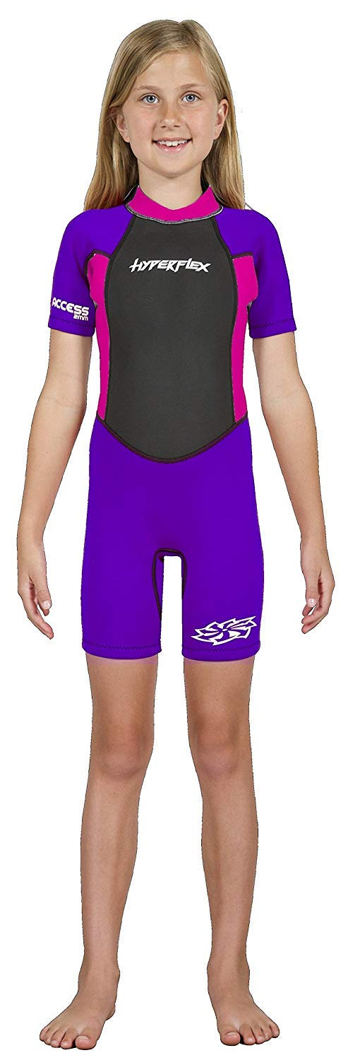 Hyperflex Access Child's Backzip Shorty Wetsuit - Warm, Comfortable Kid's Springsuit with 4-Way Stretch Neoprene and SPF Protection - Adjustable Collar and Flat Lock Construction,(Purple, 4) by Hyperflex