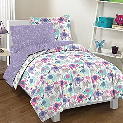 dream FACTORY Elley Elephant Comforter Set, Twin, Purple - Fabric: 60Percent Cotton/40Percent polyester 5 pc set includes: 1 comforter, 1 standard sham, 1 flat sheet, 1 fitted sheet, 1 pillowcase Comforter size: Twin: 66x 86; sham size: 20x 26 - comforter-sets, bedroom-sheets-comforters, bedroom - 616MoyR0F1L. SS400  -